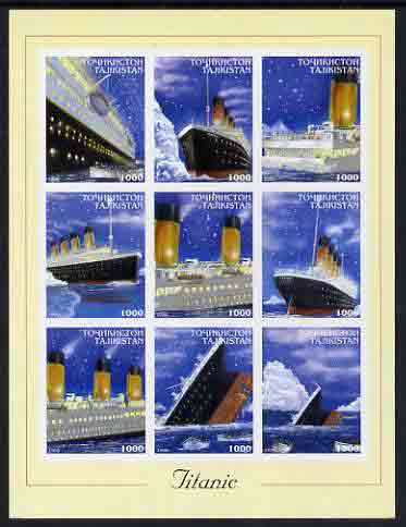 Tadjikistan 1999 The Titanic imperf sheetlet containing set of 9 values unmounted mint