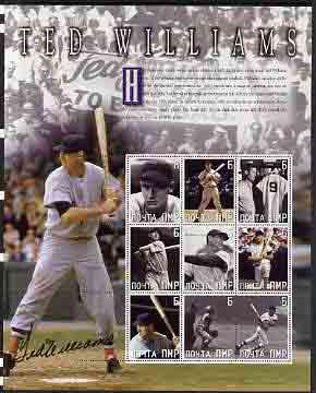 Dnister Moldavian Republic (NMP) 2002 Ted Williams (Baseball) large perf sheetlet containing 9 values unmounted mint