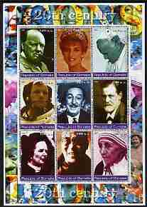 Somalia 2002 Personalities of the 20th Century #2 perf sheetlet containing 9 values, fine cto used (Churchill, Pope, Disney, N Armstrong, Diana, Mother Teresa, etc)