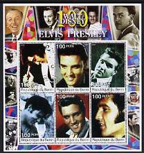 Benin 2002 Birth Centenary of Walt Disney perf sheetlet containing 6 values showing Elvis (with Disney in borders) fine cto used