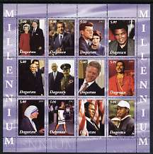 Dagestan Republic 2001 Millennium Personalities perf sheetlet containing set of 12 values unmounted mint (Reagan, JFK, M Ali, Tiger Woods, Mother Teresa, Gagarin, Diana, ...