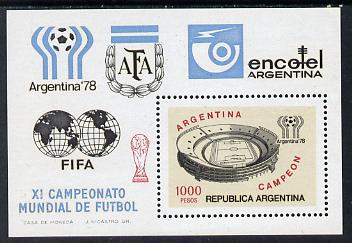 Argentine Republic 1978 Victory in Football World Cup 1,000p m/sheet SG MS 1597 unmounted mint