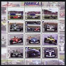 Buriatia Republic 2001 Formula 1 Motor Racing perf sheetlet containing set of 12 values unmounted mint