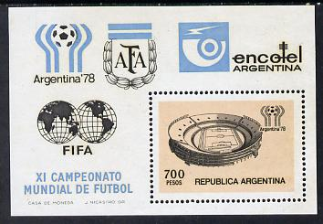 Argentine Republic 1978 Football World Cup 700p m/sheet SG MS 1590 unmounted mint