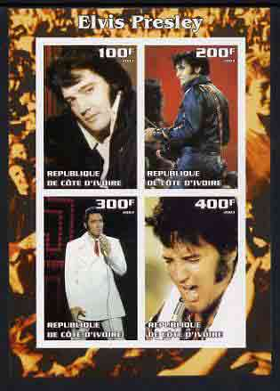 Ivory Coast 2003 Elvis Presley #3 imperf sheetlet containing 4 values, unmounted mint, stamps on elvis, stamps on music, stamps on entertainments, stamps on films, stamps on cinema