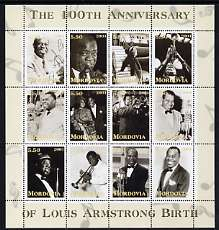 Mordovia Republic 2001 Louis Armstrong perf sheetlet #2 (yellow text) containing set of 12 values complete unmounted mint