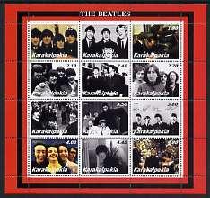 Karakalpakia Republic 2002 The Beatles perf sheetlet containing set of 12 values unmounted mint