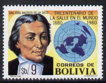 Bolivia 1980 Anniversary of Christian Schools (La Salle & Map) unmounted mint SG 1045