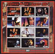 Komi Republic 2002 James Bond - Agent 007 perf sheetlet containing 12 values unmounted mint