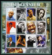 Buriatia Republic 2002 Millennium Personalities #3 perf sheetlet containing set of 12 values unmounted mint (Mandela, Hendrix, Duke Ellington, Satchmo, Ali, etc)