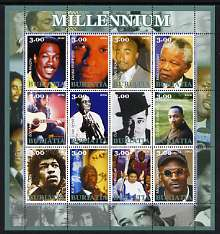 Buriatia Republic 2002 Millennium Personalities #4 perf sheetlet containing set of 12 values unmounted mint (Martin Luther King, Hendrix, Duke Ellington, Satchmo, Ali, etc)