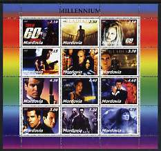 Mordovia Republic 2002 Millennium Personalities (Films) perf sheetlet containing set of 12 values unmounted mint (Gladiator, James Bond etc)