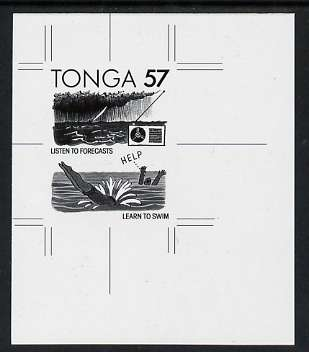 Tonga 1991 Accident Prevention 57s (Safety at Sea with English inscription) B&W photographic Proof, as SG 1125