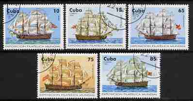 Cuba 1996 Capex 96 Stamp Exhibition (18th Century Sailing Ships) perf set of 5 values cto used, SG 4073-77