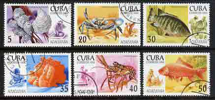 Cuba 1994 Aquaculture set of 6 cto used Mi 3749-54, SG 3894-99