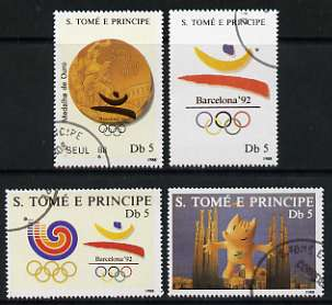 St Thomas & Prince Islands 1988 Barcelona Olympic Games perf set of 4 fine cto used Mi 1076-79
