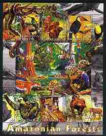 Kyrgyzstan 2004 Fauna of the World - Amazonian Forests perf sheetlet containing 6 values cto used
