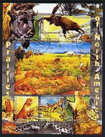 Kyrgyzstan 2004 Fauna of the World - Prairies of N America perf sheetlet containing 6 values cto used