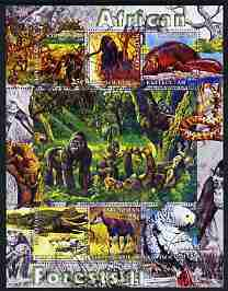 Kyrgyzstan 2004 Fauna of the World - African Forests #2 perf sheetlet containing 6 values cto used