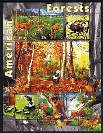 Kyrgyzstan 2004 Fauna of the World - American Forests perf sheetlet containing 6 values cto used