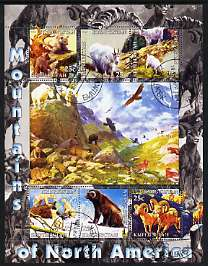 Kyrgyzstan 2004 Fauna of the World - Mountains of North America perf sheetlet containing 6 values cto used