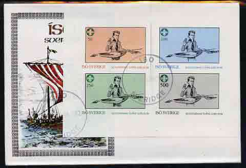 Iso - Sweden 1982 75th Anniversary of Scouting imperf set of 4 on cover with first day cancel