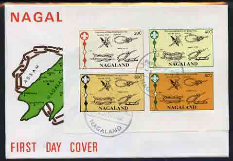 Nagaland 1982 75th Anniversary of Scouting imperf set of 4 on cover with first day cancel