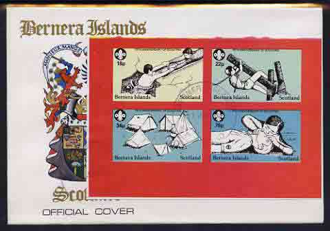 Bernera 1982 75th Anniversary of Scouting imperf set of 4 on cover with first day cancel