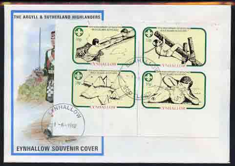 Eynhallow 1982 75th Anniversary of Scouting i,perf set of 4 on cover with first day cancel
