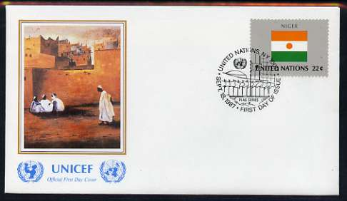 United Nations (NY) 1987 Flags of Member Nations #8 (Niger) on illustrated cover with special first day cancel
