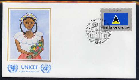 United Nations (NY) 1987 Flags of Member Nations #8 (St Lucia) on illustrated cover with special first day cancel