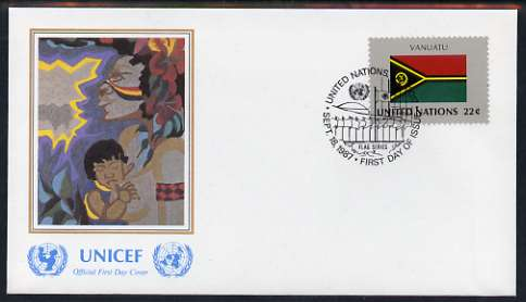 United Nations (NY) 1987 Flags of Member Nations #8 (Vanuatu) on illustrated cover with special first day cancel