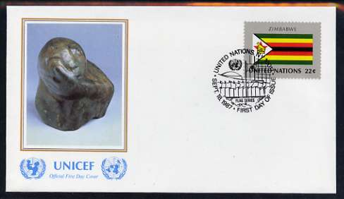 United Nations (NY) 1987 Flags of Member Nations #8 (Zimbabwe) on illustrated cover with special first day cancel