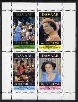 Davaar Island 1986 Queen's 60th Birthday perf sheetlet containing set of 4 stamps unmounted mint