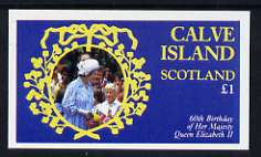 Calve Island 1986 Queen's 60th Birthday imperf souvenir sheet (�1 value) unmounted mint