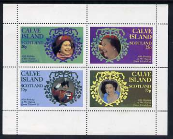 Calve Island 1986 Queen's 60th Birthday perf sheetlet containing set of 4 stamps unmounted mint