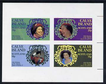 Calve Island 1986 Queen's 60th Birthday imperf sheetlet containing set of 4 stamps unmounted mint