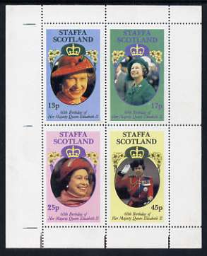 Staffa 1986 Queen's 60th Birthday perf sheetlet containing set of 4 stamps unmounted mint