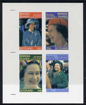 Bernera 1986 Queen's 60th Birthday imperf sheetlet containing set of 4 stamps unmounted mint