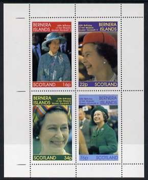 Bernera 1986 Queen's 60th Birthday perf sheetlet containing set of 4 stamps unmounted mint