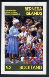 Bernera 1986 Queen's 60th Birthday imperf deluxe sheet (�2 value) unmounted mint