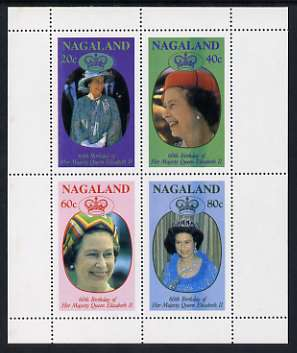 Nagaland 1986 Queen's 60th Birthday perf sheetlet containing set of 4 stamps unmounted mint