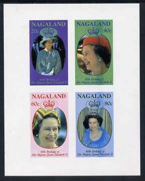 Nagaland 1986 Queen's 60th Birthday imperf sheetlet containing set of 4 stamps unmounted mint