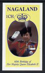 Nagaland 1986 Queen's 60th Birthday imperf souvenir sheet (1ch value) unmounted mint