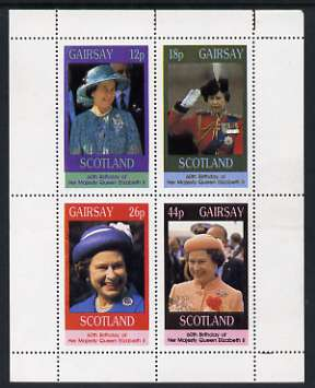 Gairsay 1986 Queen's 60th Birthday perf sheetlet containing set of 4 stamps unmounted mint