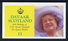 Davaar Island 1985 Life & Times of HM Queen Mother imperf souvenir sheet (�1 value) unmounted mint