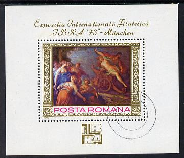 Rumania 1973 'IBRA 73' Stamp Exhibition (Painting by Von Aachen) m/sheet cto used SG MS 3998, stamps on arts, stamps on stamp exhibitions