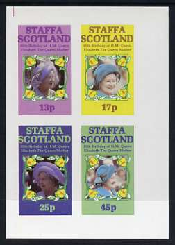 Staffa 1985 Life & Times of HM Queen Mother imperf sheetlet of 4 values (13p, 17p, 25p & 45p) unmounted mint