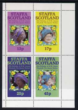 Staffa 1985 Life & Times of HM Queen Mother perf sheetlet of 4 values (13p, 17p, 25p & 45p) unmounted mint