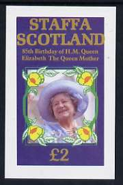 Staffa 1985 Life & Times of HM Queen Mother imperf deluxe sheet (�2 value) unmounted mint